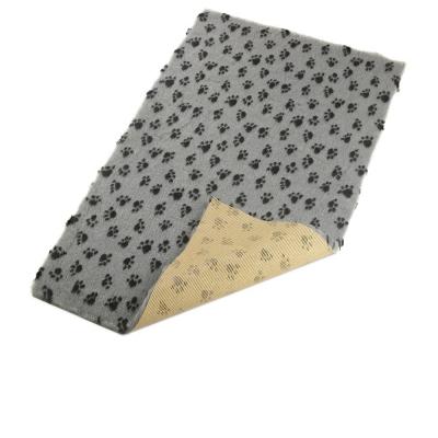 Grau mit schwarzen Pfötchen - Kuscheldecke Anti Rutsch Unterseite